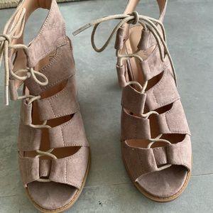 Top Moda lace up bootie sandal